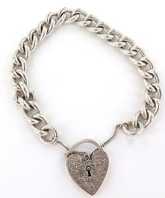 .nice Large Link Heavy Sterling Silver Bracelet With Large Heart Shaped Padlock
