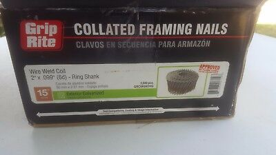 2″ Inch Coil Nails Ring Exterior Galv 15° (2,250) Grip Rite Collated Framing