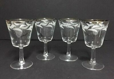 Vintage Cordial /Sherry Glass Silver Rim Etched  Frosted Leave ELEGANT~ FRANCE