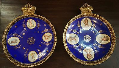 Pair Of Antique Czechoslovakia Victorian Portrait Wall Plates Repousse frames