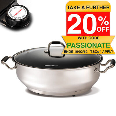 Morphy Richards 9.5L Non Stick Electric Pan Roasting Skillet S/S Cooker/Frypan