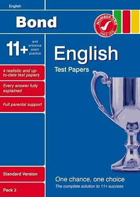 Bond 11+ Test Papers English Standard Pack 2 by Lindsay, Sarah Pamphlet Book The