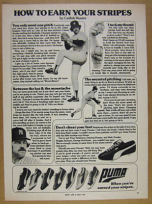 1976 Catfish Hunter pitching tips photo Puma Baseball Cleats vintage print Ad