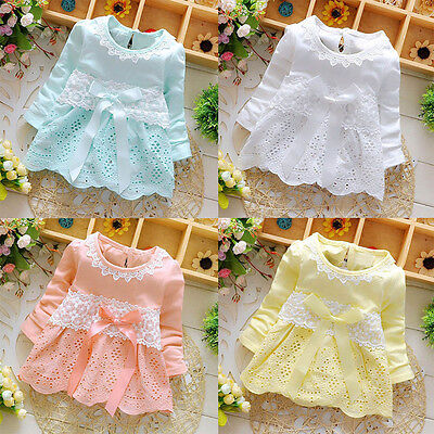 Newborn Infant Kid Baby Girls Long Sleeve Lace Flower Bow Princess Party Dresses