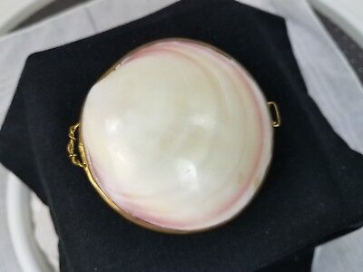 Vintage Handmade Mother Of Pearl MOP Shell Coin Change Purse Brass Trimmed