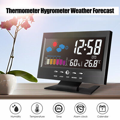 ELE LCD Digital Color Thermometer Humidity Weather Station Snooze Clock Calendar