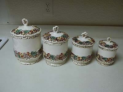 Lefton Della Robbia Canister Set ~ 4 Canisters W Lids Fruit Pattern