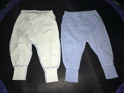 2x Hanna Andersson 70 Wiggle Pants Boy Blue 6-12 Months Lot of 2