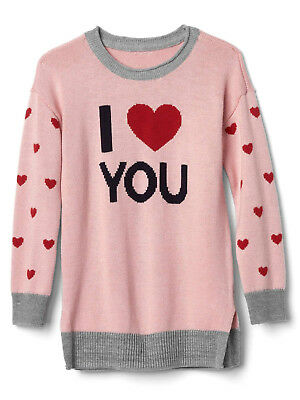 NWT Baby Gap I Love You Heart Valentine's Day Sweater Tunic Baby Toddler Girl