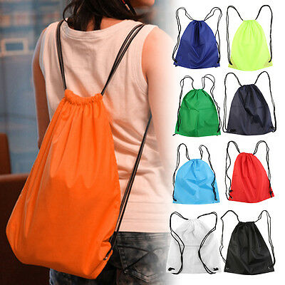 Premium School Drawstring Duffle Bag Sport Gym Swim Dance Shoe Backpack BB