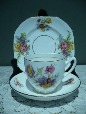 Vintage Duchess Bone China Floral Trio - Cup Saucer Plate - High Tea - 1950's Gc