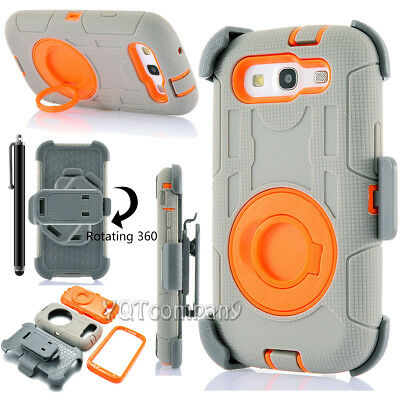 For Samsung Galaxy S3 III I9300 Cover Armor Shockproof Rugged Rubber Case + Clip