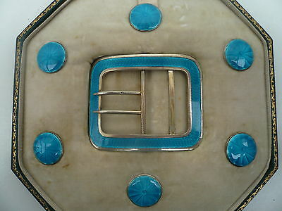 Silver Enamel Buttons Belt Buckle, Sterling, Antique, English, Hallmarked 1910