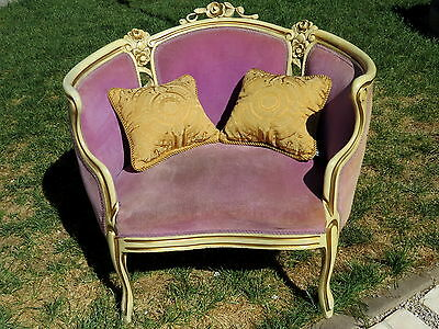 RARE•Vintage Antique White & Gold Wood French WRAP AROUND Chair ROSES GORGEOUS!