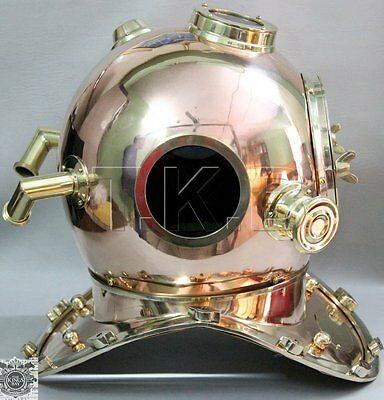 Vintage Us Navy Diving Divers 18 Inch Mourse Marine Brass/copper Helmet Gifts