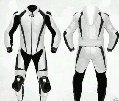 White & Black Motorcycle Leather Racing Suit Ce Approved Protection All Sizes