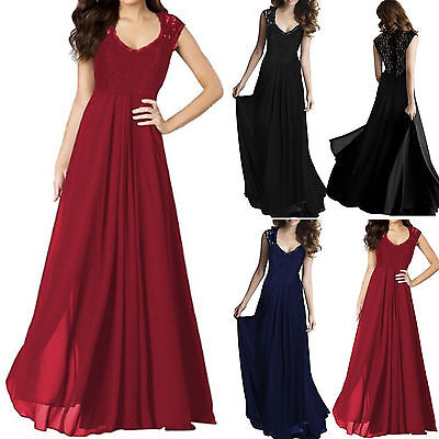 Women Bridesmaid Wedding Formal Maxi Dress Party Evening Cocktail Long Prom Gown