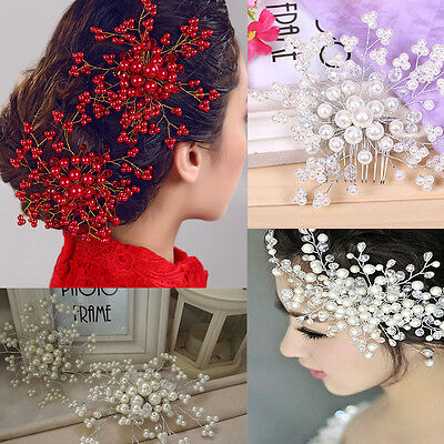 Bride Crystal Pearl Rhinestone Headwear Bridal Wedding Hair Comb Hairpin Gifts #