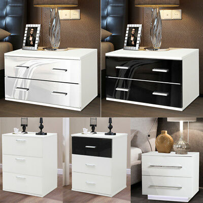 1/2X Modern Furniture Nightstand Bedside Tables Cabinets With Drawers Gloss/matt