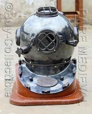 Nautical Diving Helmet Sea Divers Collectibles Maritime Full Size Helmet~W/base