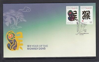 CHRISTMAS IS  2016  Year of the MONKEY  design set of 2  on FDC
