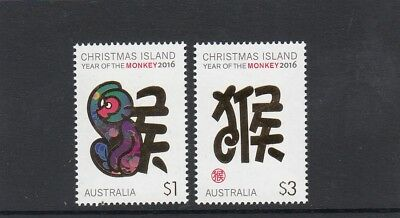 CHRISTMAS IS  2016  Year of the MONKEY Design set of 2  MNH.