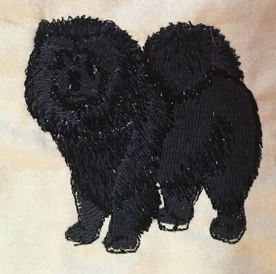 Chow, Black Hand Towel, Embroidered, Custom, Personalized, Dog