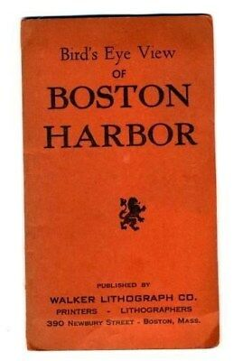 Birds Eye View of Boston Harbor 1900s Walker Lithograph