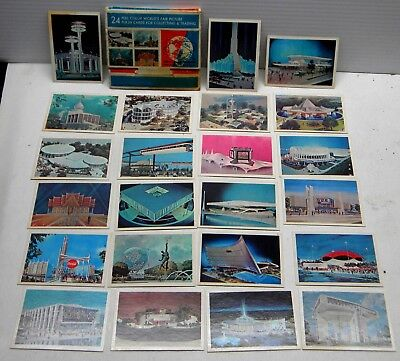 Souvenir New York Worlds Fair 1964/1965 Attractions 23 Color Picture Flash Cards