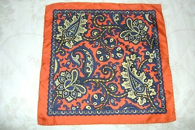 "Hand made Macclesfield silk pocket square 17"" orange Paisley hand rolled"