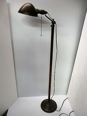 Antique 1910 Arts & Crafts Bradley & Hubbard Copper/ Brass Floor Lamp Adjustble