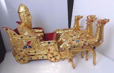 Vintage Asian Thailand Gold Painted Wooden Figurines Man In Sleigh 4 Camels Deer