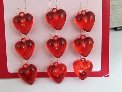 Mini Red Acrylic Heart Ornaments - Valentine's Day Jewelry - Wreath Enhancement