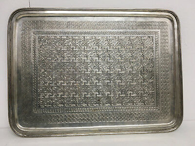 Marked Solid Silver Antique Persian Islamic Tray  1126 Grams