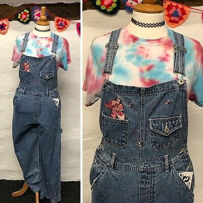 VINTAGE WOMENS DUNGAREES OVERALLS BLUE DENIM 90s TIGGER POOH (d3) SIZE 8-10 S