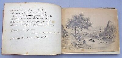 German autograph album 1852-1856, Karlsruhe region, 80+ items incl. drawings