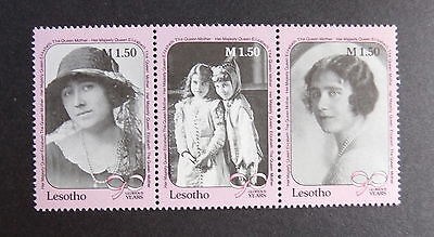 Lesotho 1990 Queen Mother's 90th Birthday  strip of 3 MNH UM Unmounted mint