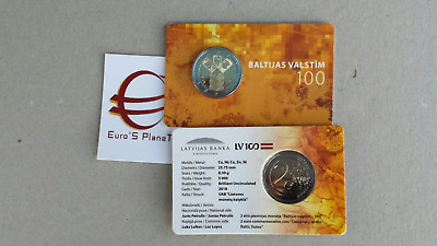 coin card 2 euro 2018 LETTONIA 100 Stati Baltici Lettonie Lettland Latvia Латвия