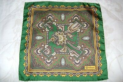 "Hand made Macclesfield silk square 12"" hand rolled emerald green & yellow"