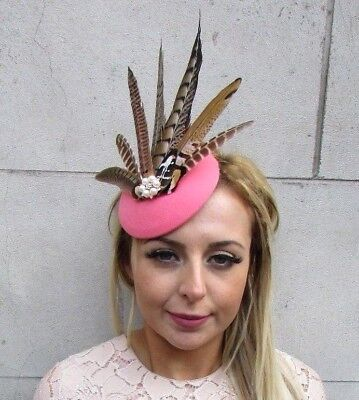Coral Brown Pearl Pheasant Feather Pillbox Hat Fascinator Races Ascot Hair 5220