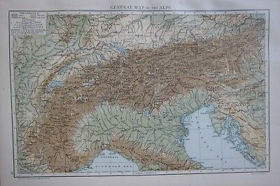 1893 Large Antique Map The Alps Plain Of Lombardy Land Heights