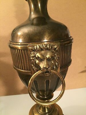 "Solid brass table lamp, 33"" Tall vintage Stiffel, flame lion heads No Shade"