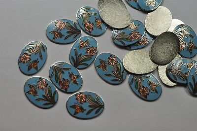 12 Vintage Rare West German Flatback 25x18mm Floral Enameled Brass Cabs -V2326
