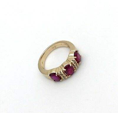 Vintage 14k Yellow Gold Natural Burma Oval Shape Ruby&Diamond Band Ring Size6.25