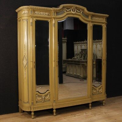 Closet lacquered furniture wardrobe italian wood antique style Louis XVI bedroom