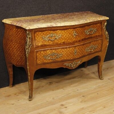 Dresser inlaid wardrobe armoire marble chest of drawers wood antique  Louis XV