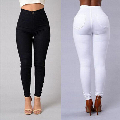 NEW Women Pencil Stretch Denim Skinny Jeans Pants High Waist Slim Jeans Trousers
