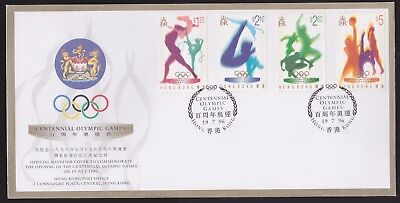 Hong Kong 1996 FDC Post Office Cover Set 4 values Centennial Olympic Games Sport