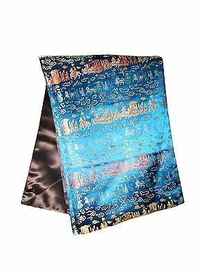 Custom-Made in USA, Art Silk Throw or Bed Scarf, Teal Blue (6122)