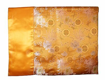 Custom-Made in USA, Art Silk Throw or Bed Scarf, Gold (6102)